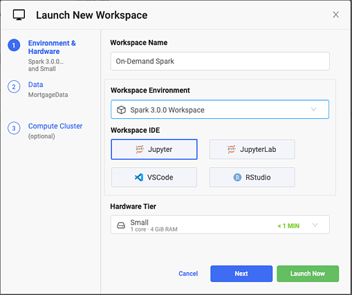 The Launch New Workspace screen in Domino. Environment is set to Spark 3.0.0 Workspace, IDE is set to JupyterLab.