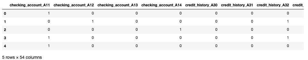 table showing the recoded categorical attributes (first 5 rows only). each attribute has been unpacked into binary dummy variables (i.e. checking_account becomes checking_account_A11, checking_account_A12 etc.)